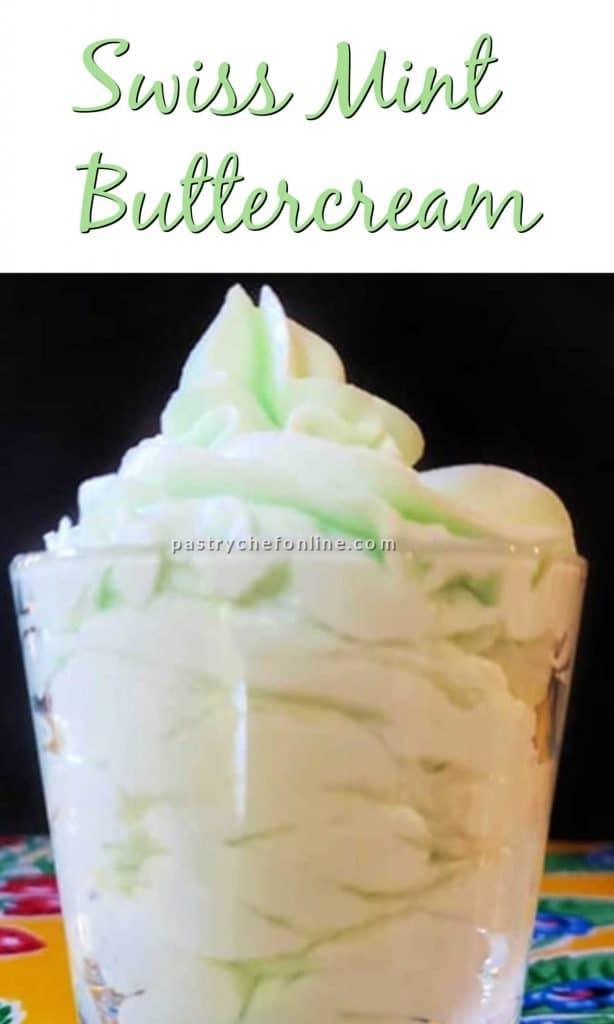 """glass of mint buttercream text reads """"Swiss Mint Buttercream"""""""