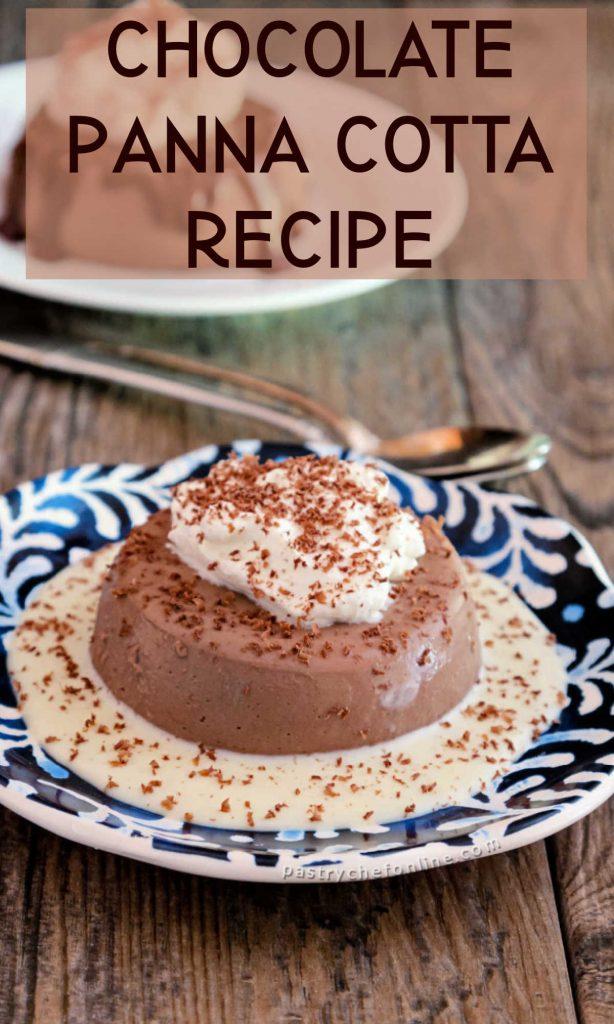 "2 plates of panna cotta text reads ""chocolate panna cotta recipe"""