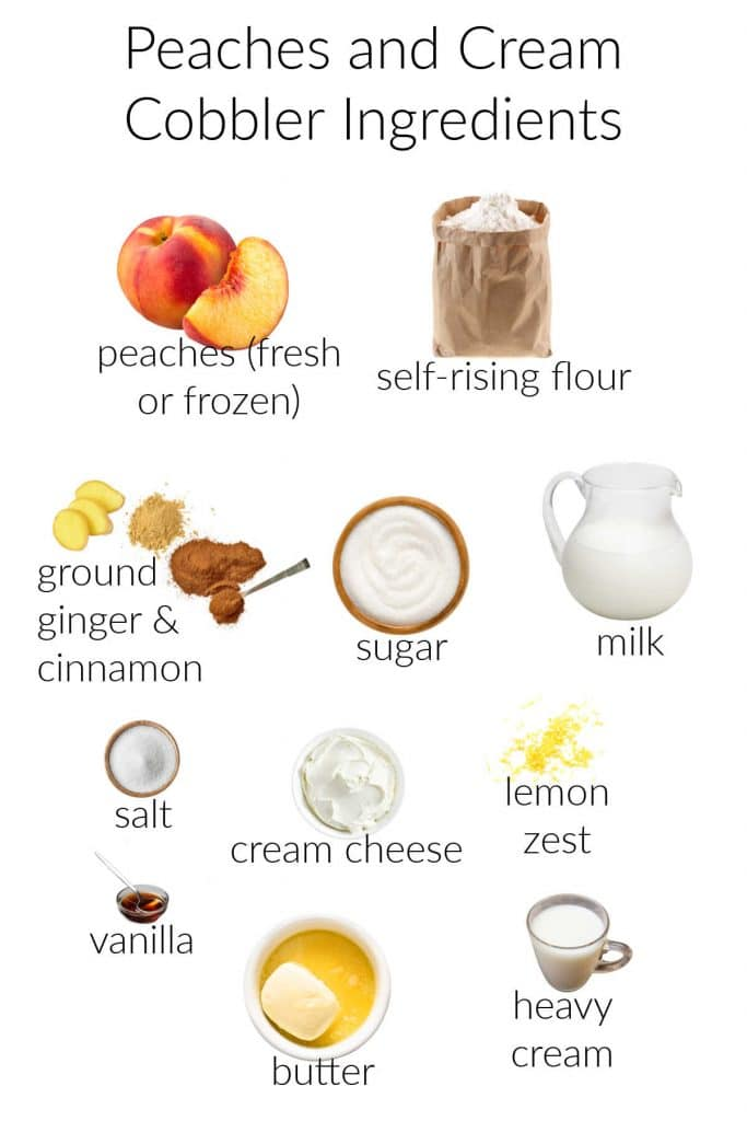 A collage of images of ingredients for making easy peach cobbler.