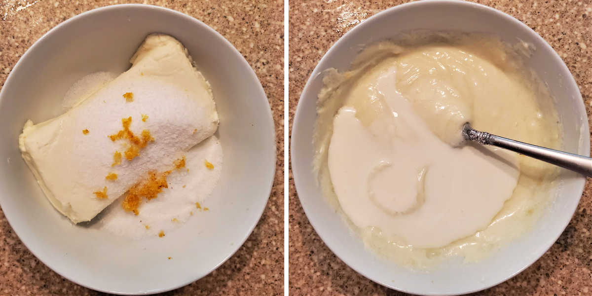 ingredients for creamy cheese layer in a bowl and then stirred together