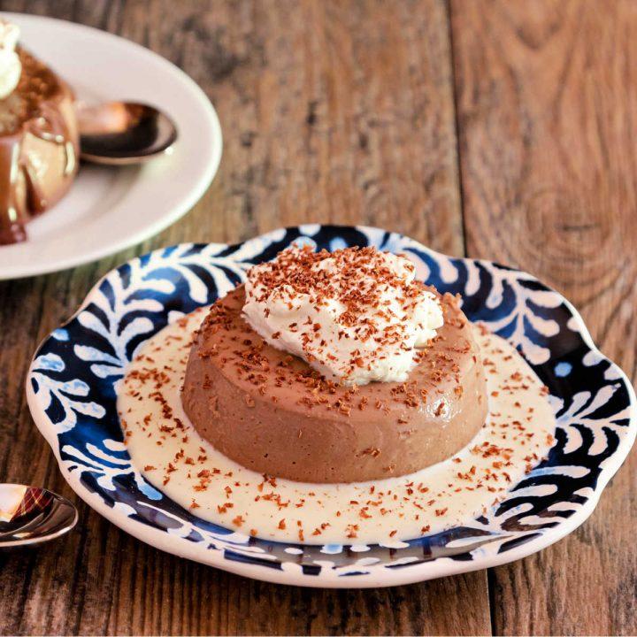 chocolate panna cotta with white chocolate ganache
