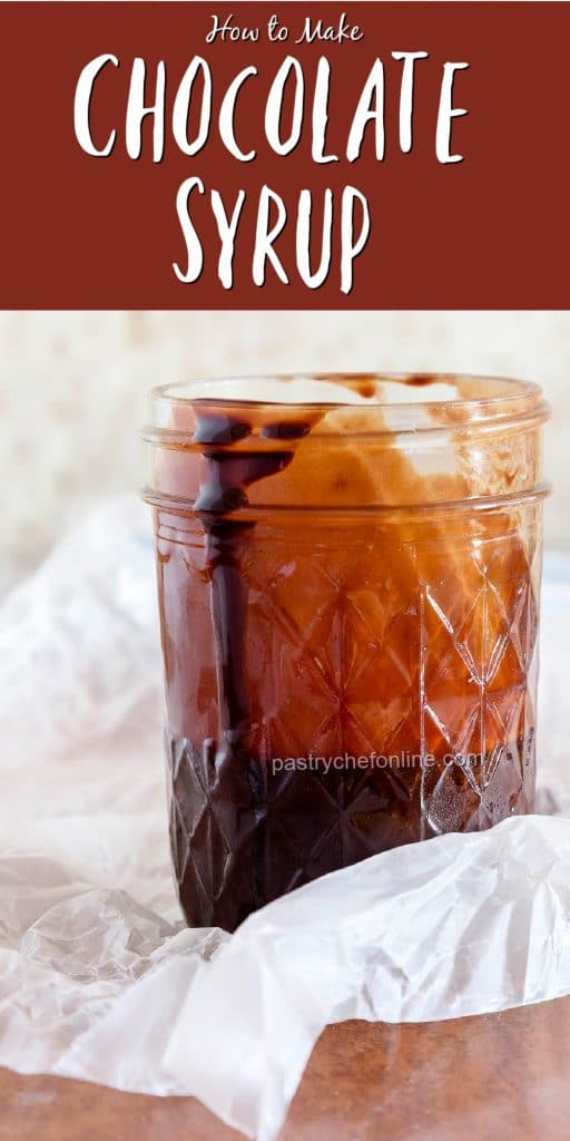 """pin image of chocolate syrup text reads """"how to make chocolate syrup"""""""