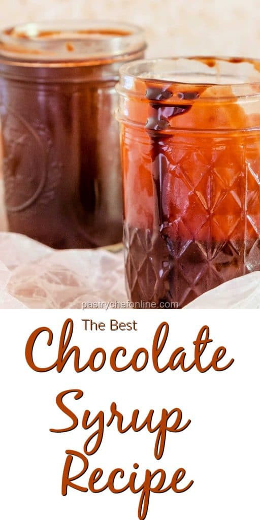 """2 jars of chocolate syrup text reads """"the best chocolate syrup recipe"""""""