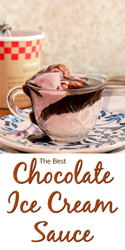 """glass cup of ice cream with chocolate sauce text reads """"the best chocolate ice cream sauce"""""""