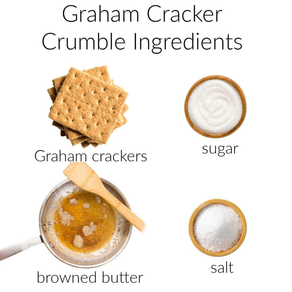Ingredient collage for Graham cracker crumble.