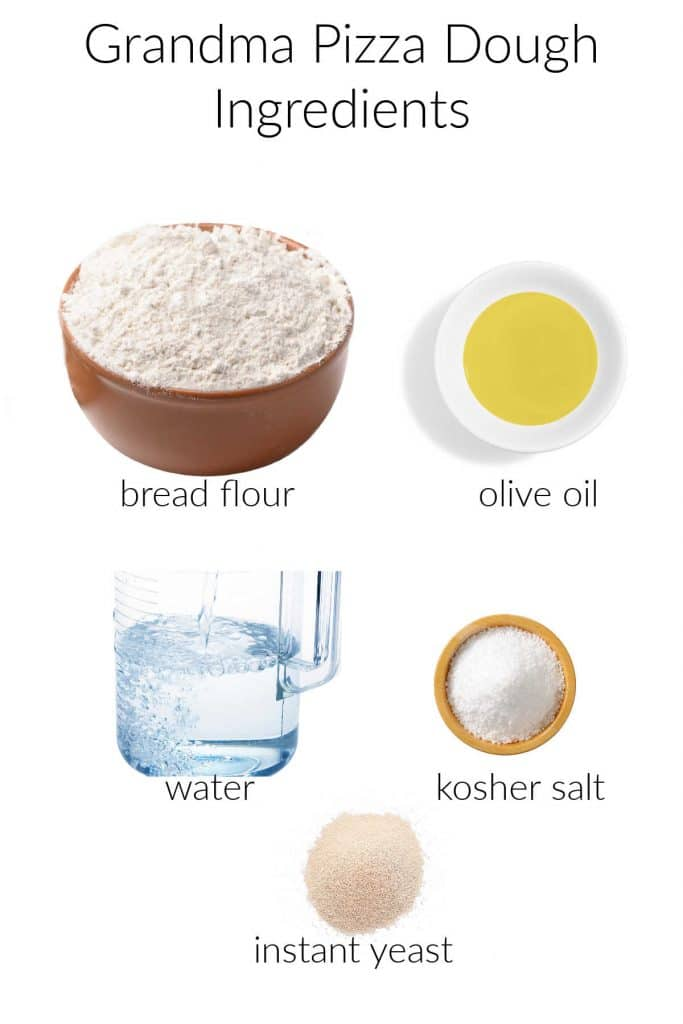 Collage of ingredients to make pan pizza dough.