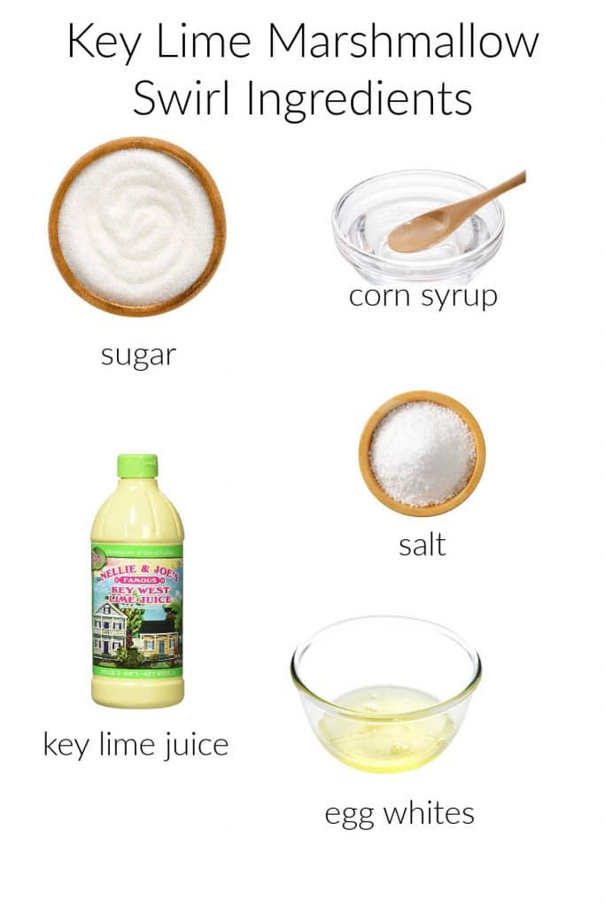 Ingredient collage for key lime marshmallow swirl.