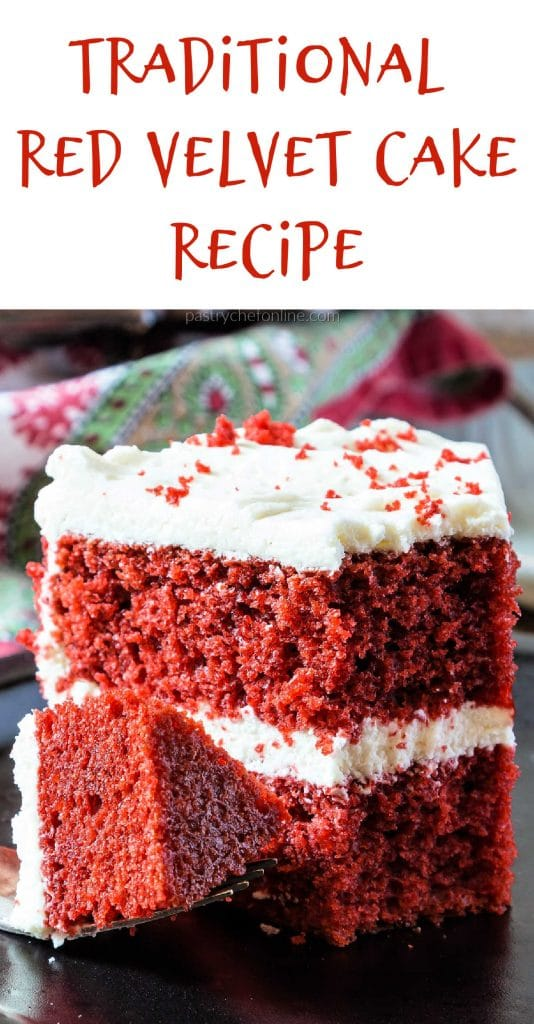 "slice of cake text reads ""traditional red velvet cake recipe"""
