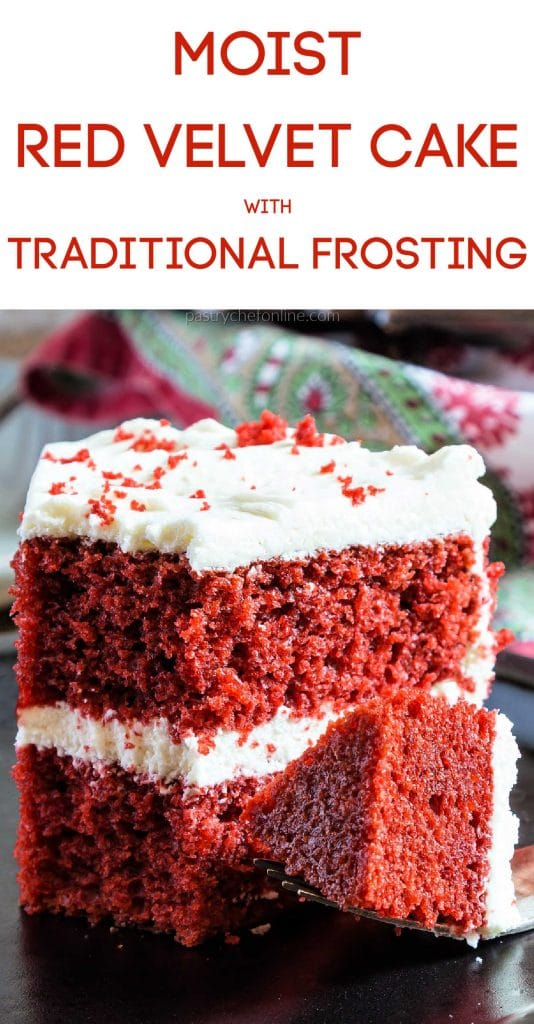 """slice of cake text reads moist red velvet cakewith traditional frosting"""""""