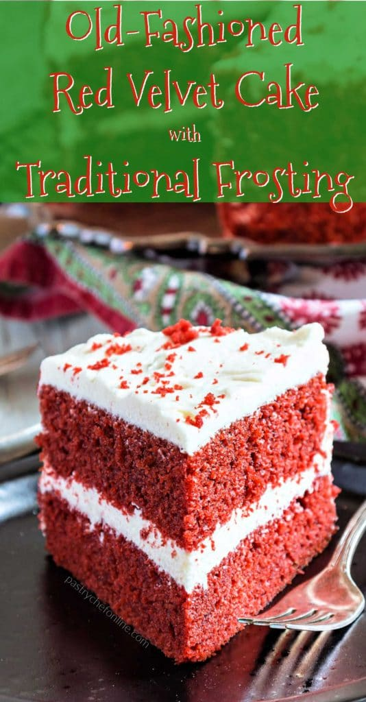 """slice of cake text reads """"old-fashioned red velvet cake with traditional frosting"""""""