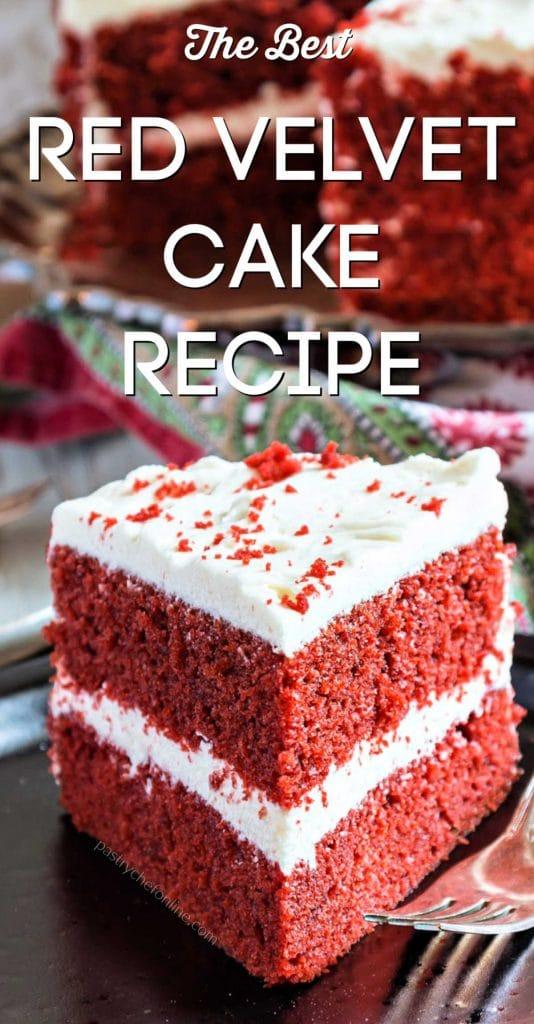 """slice of cake text reads """"the best red velvet cake recipe"""""""