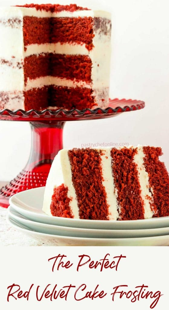 """cake on cake stand and sliced cake on plate text reads """"the perfect red velvet cake frosting"""""""