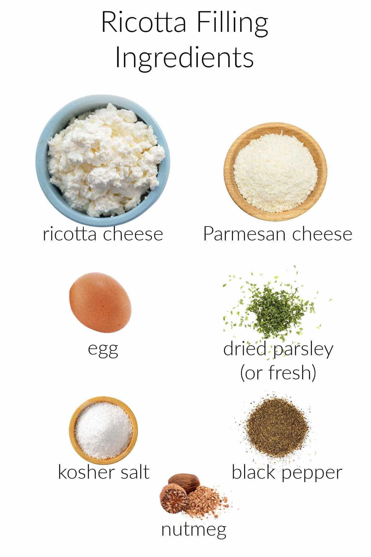 Collage of ingredients for ricotta filling.