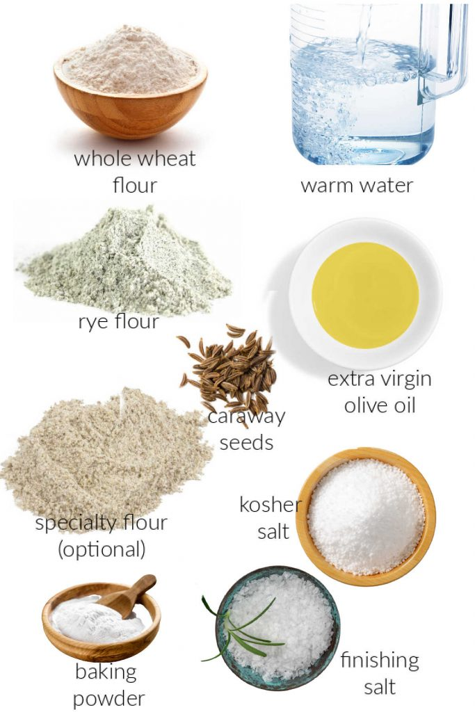Collage of photos of ingredients for rye crackers.