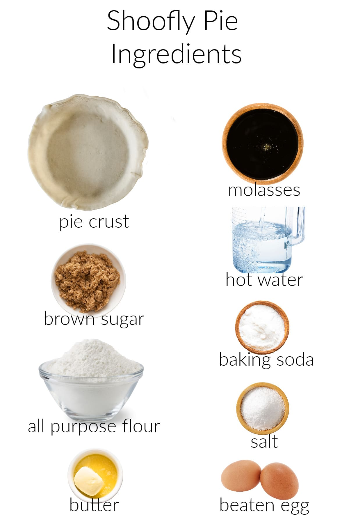 Collage of ingredients for making wet bottom shoofly pie.