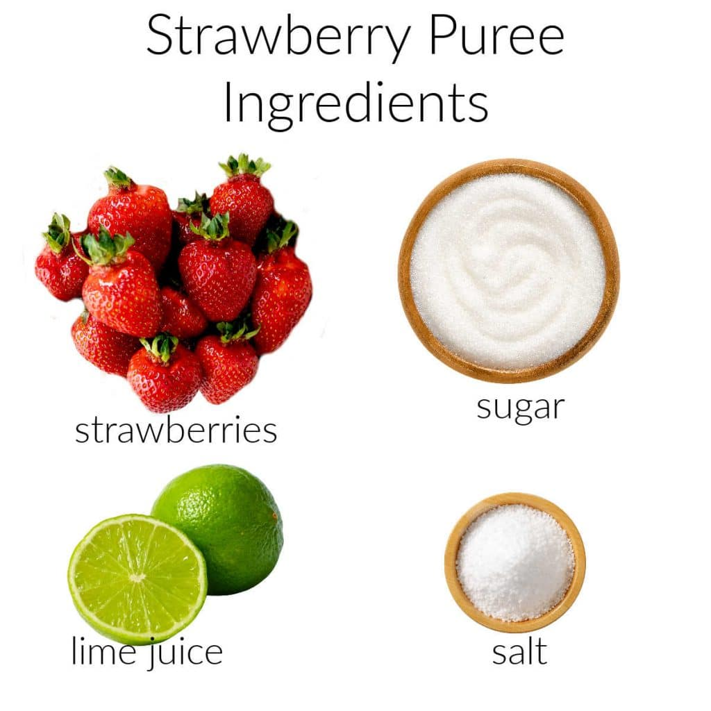 Ingredient collage for strawberry puree.