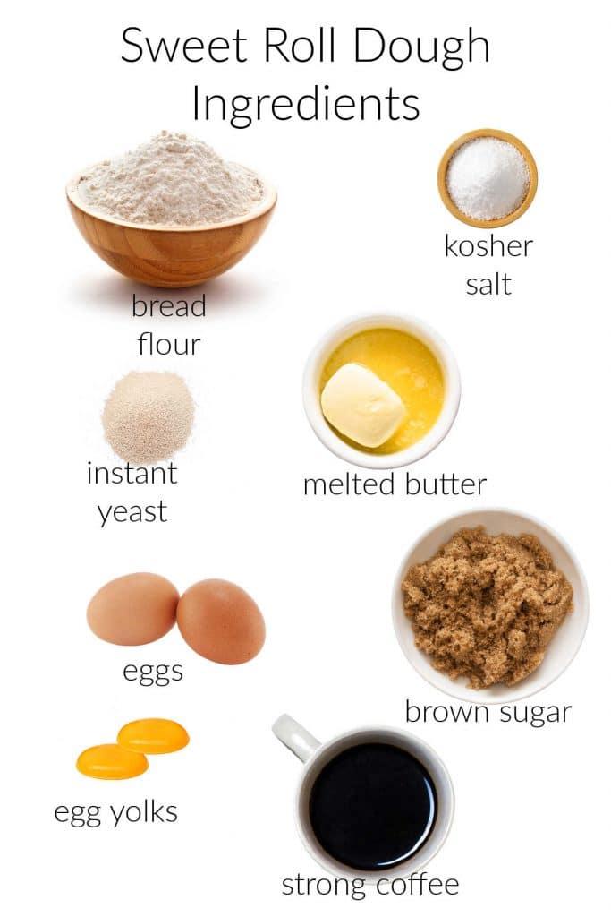 ingredients in sweet roll dough