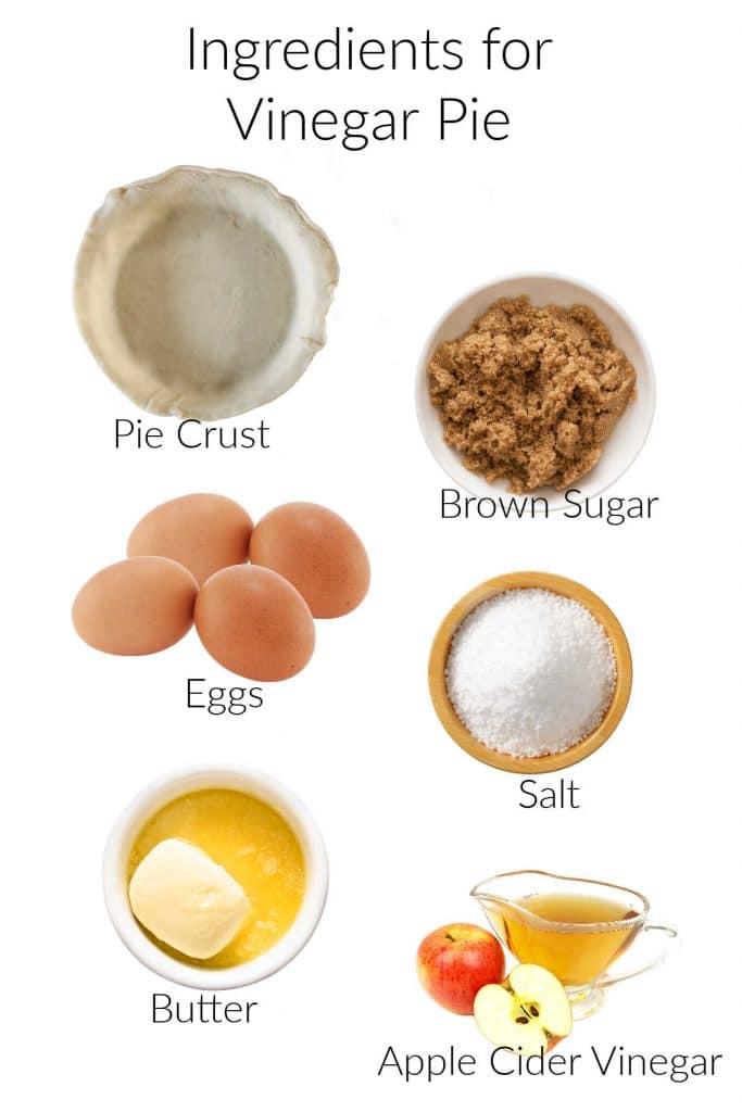 Collage of ingredients for making vinegar pie.