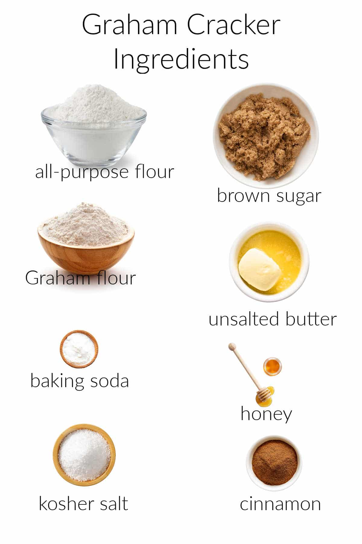 Ingredient collage for making Graham crackers.