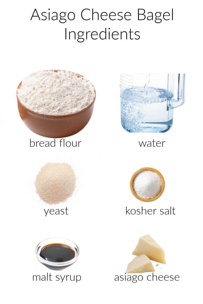 Collage of ingredients for asiago bagels.