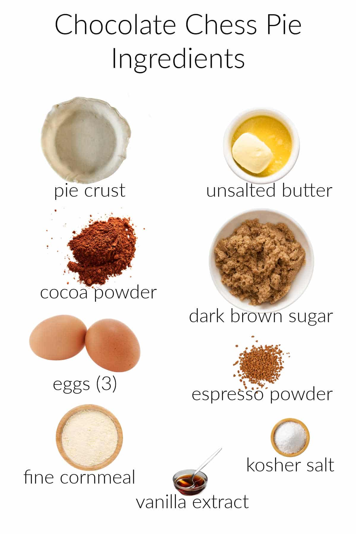 Collage of ingredients in chocolate chess pie.