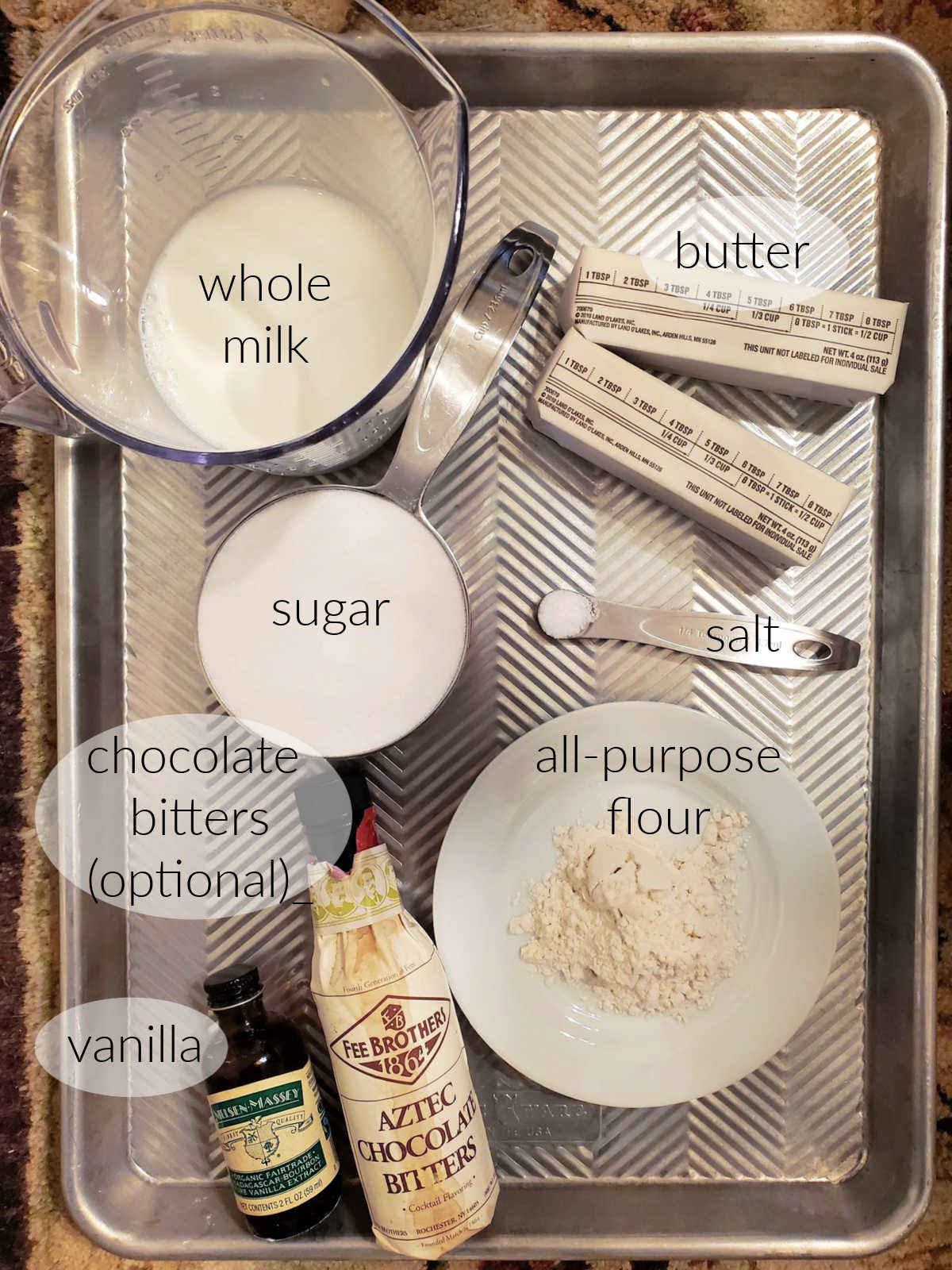 Collage of ingredients in ermine frosting.