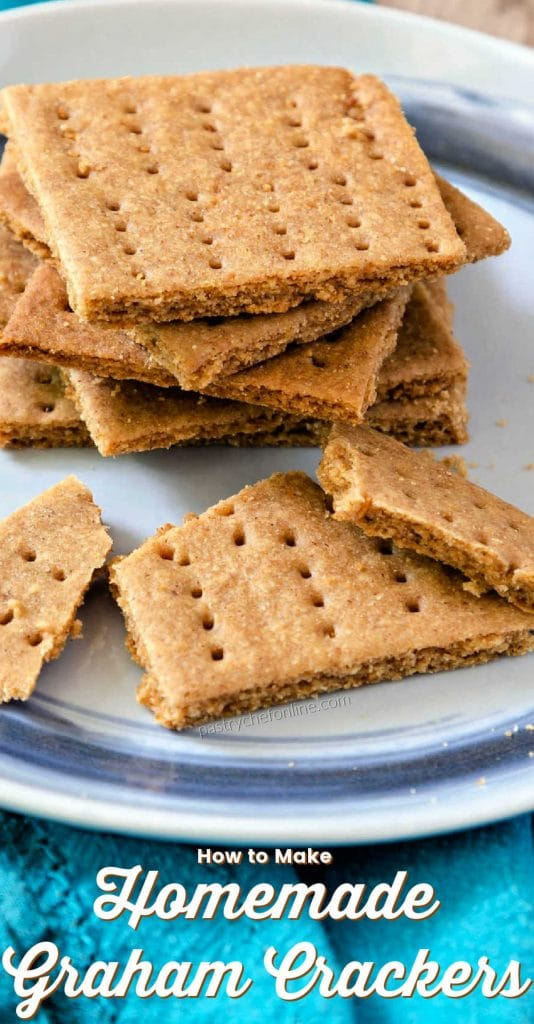 """homemade grahams on a plate text reads """"how to make homemade Graham crackers"""""""
