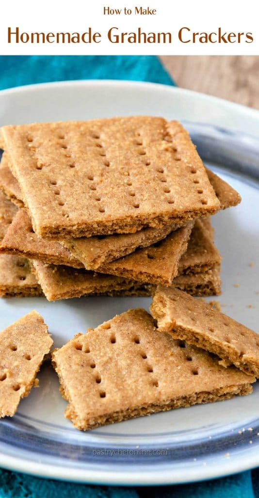 """Graham crackers on a plate Text reads """"how to make homemade Graham crackers"""""""