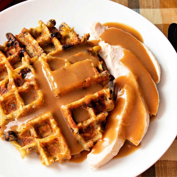 turkey and potato stuffing waffles