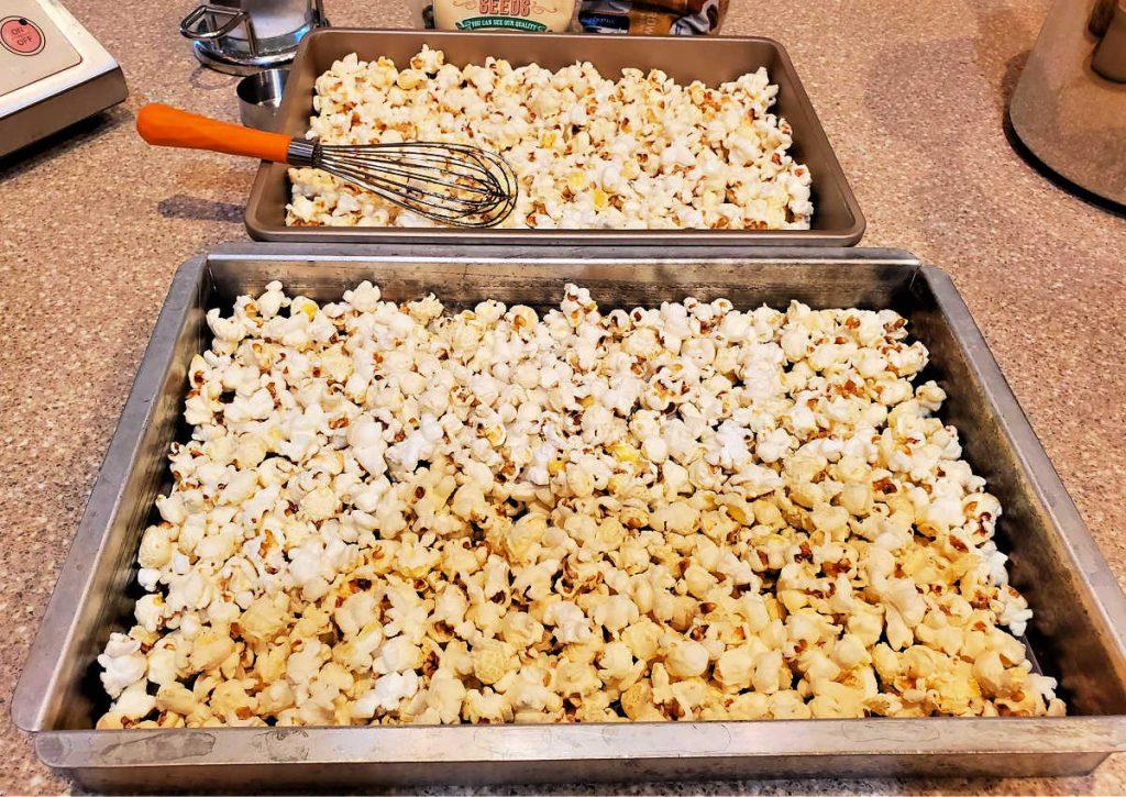 Popcorn spread in two baking pans.