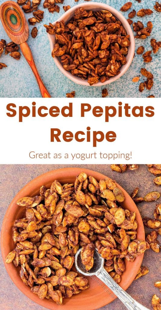 "overhead shot of candied pumpkin seeds text reads ""spiced pepitas recipe"""