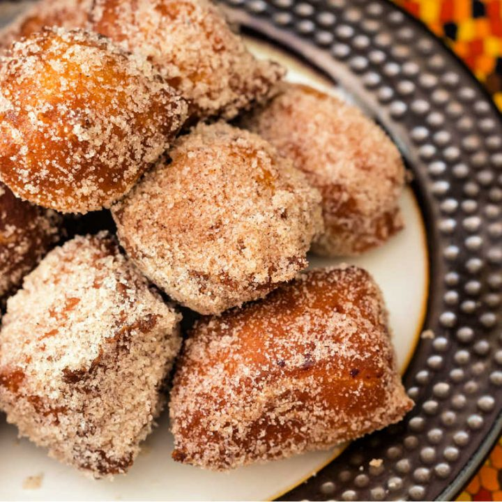 plate of pumpkin spice donuts