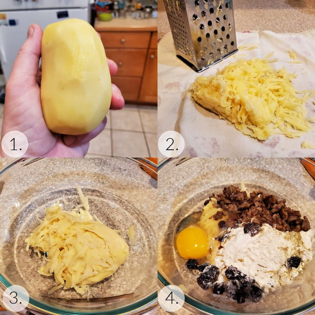 """Collage of steps showing how to grate the potatoes and mix the """"batter""""."""