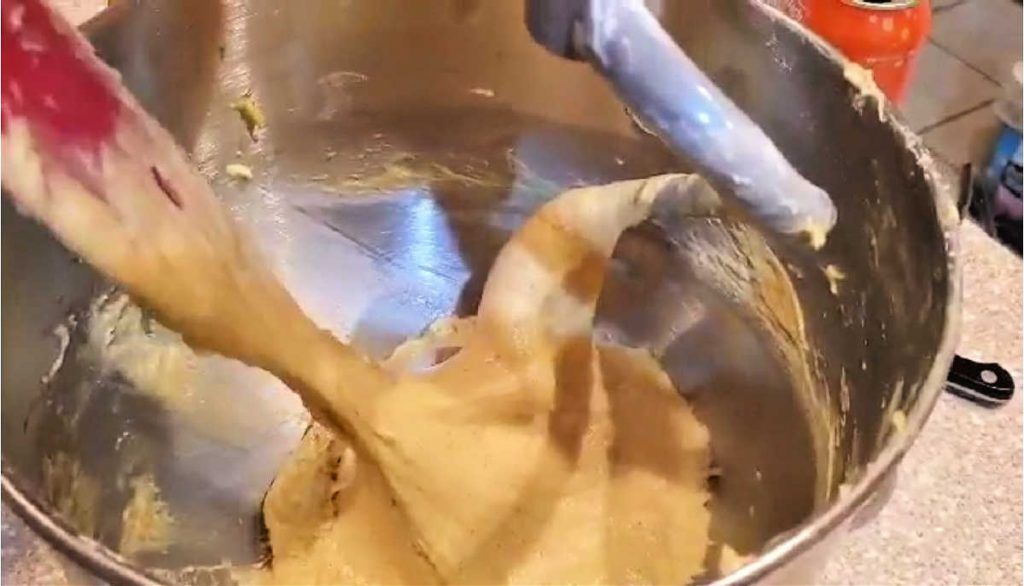 very wet dough in a mixer bowl