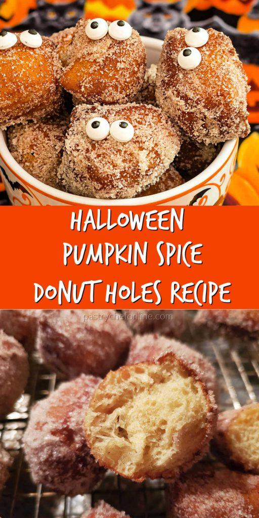 "pumpkin donuts with eyes text reads ""halloween pumpkin spice donut holes recipe"""
