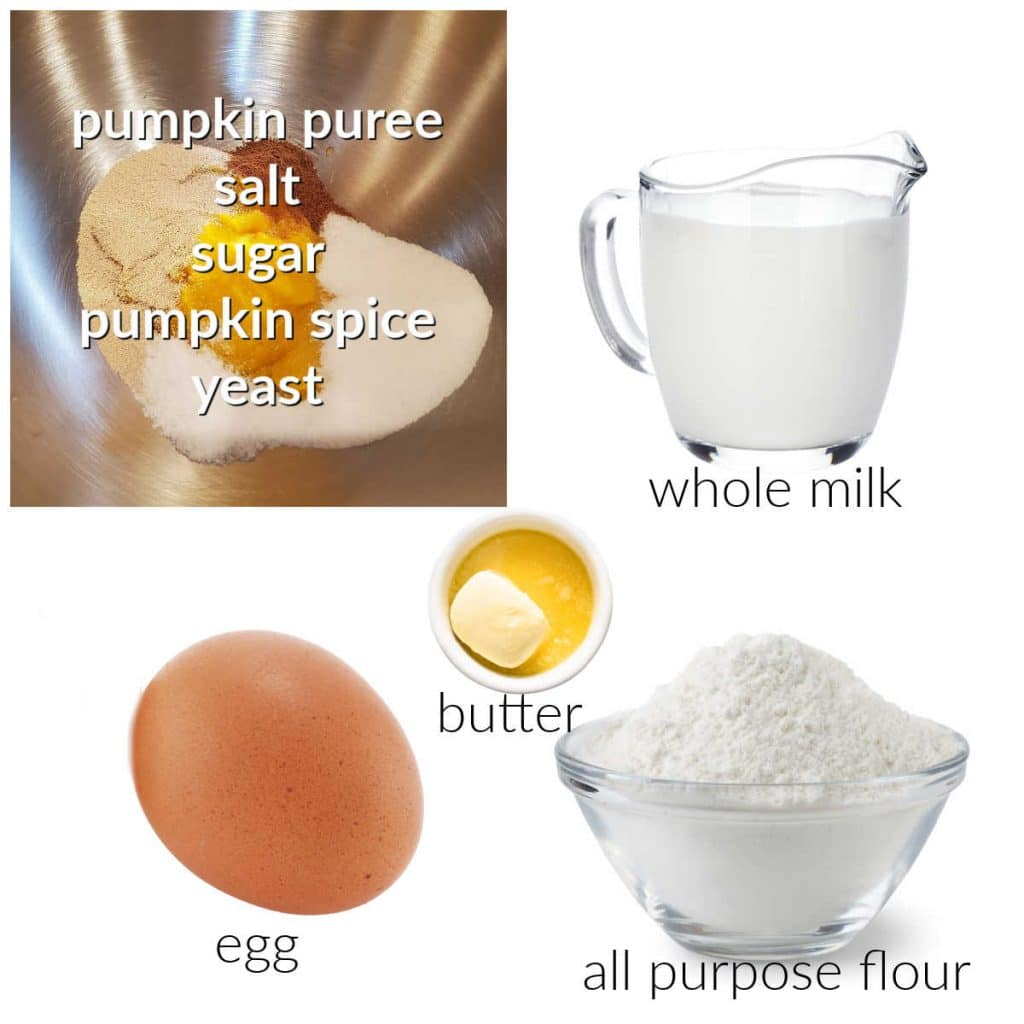 collage of ingredients for making pumpkin spice donuts