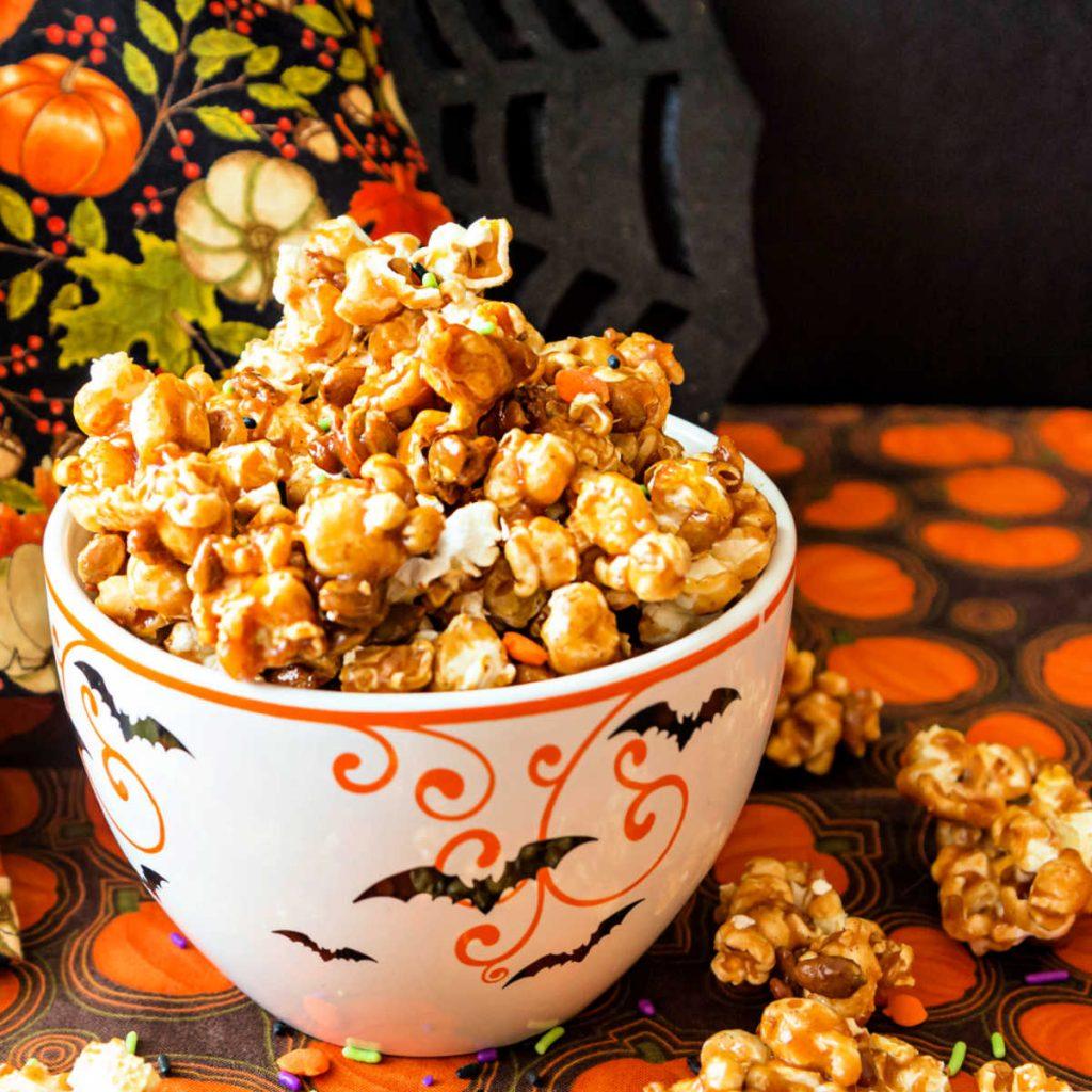 bowl full of pumpkin spice caramel popcorn