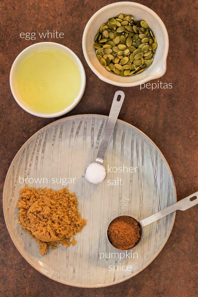 Overhead shot of ingredients to make the pumpkin spiced pepitas recipe.