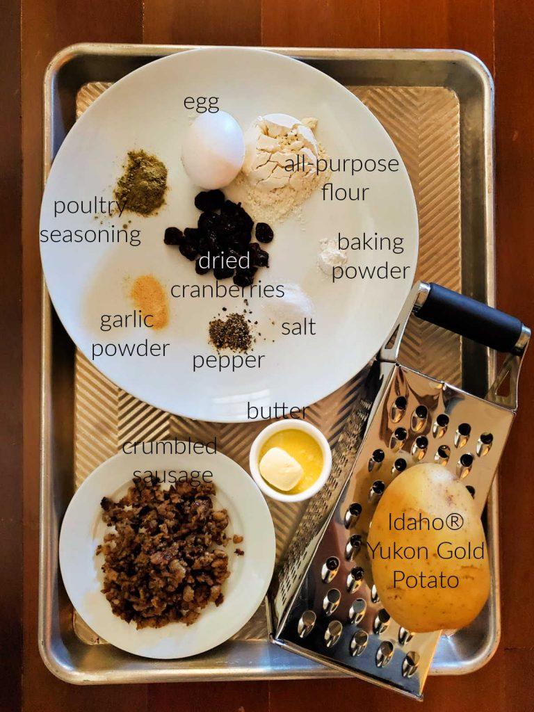 Collage of ingredients to make potato stuffing waffles.