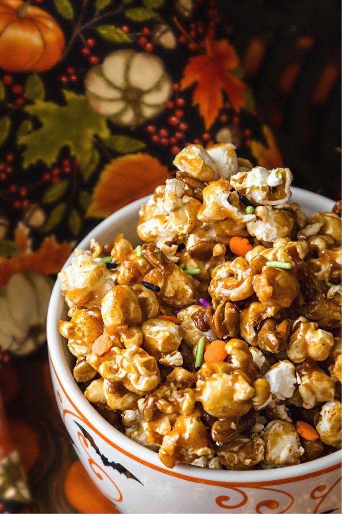 A bowl of pumpkin spice caramel corn.