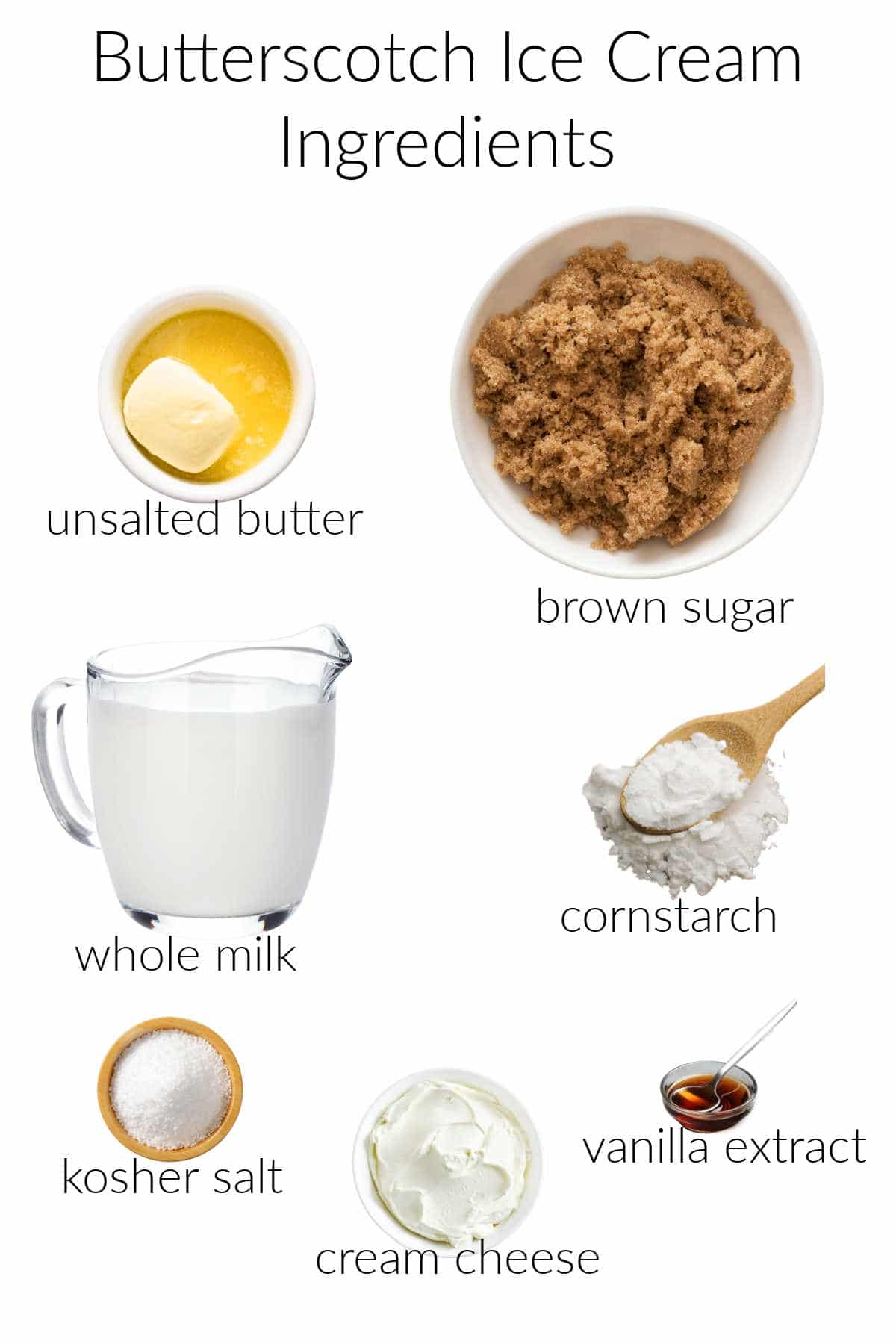 Collage of ingredients for making butterscotch ice cream.