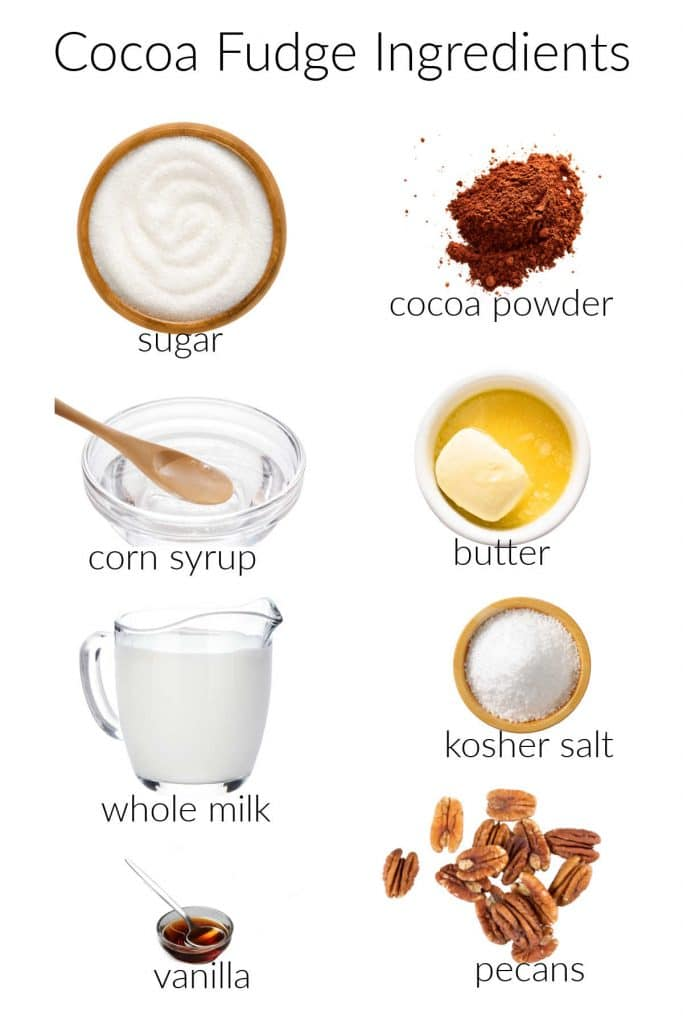 ingredient collage for making cocoa fudge