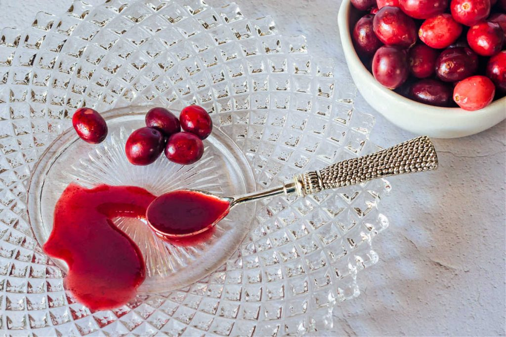 Cranberry ketchup spread on a crystal plate next to some fresh cranberries.