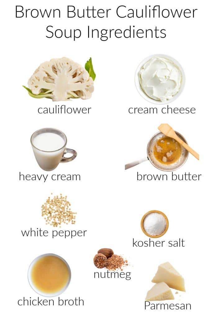 Collage of ingredients for making cream of cauliflower soup.