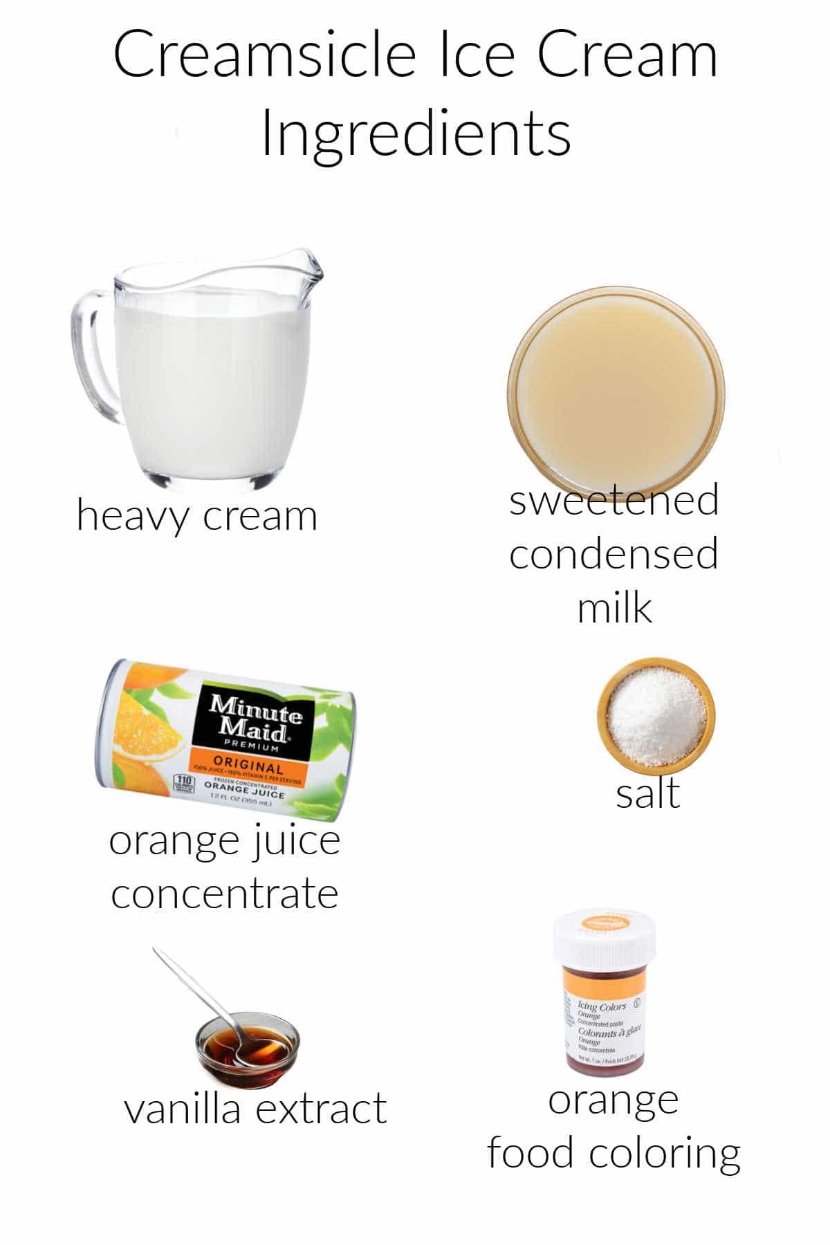 Collage of ingredients for making orange vanilla ice cream.