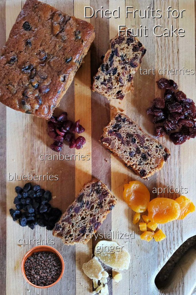 Collage of free range fruit cake and the dried fruit ingredients needed to make it.