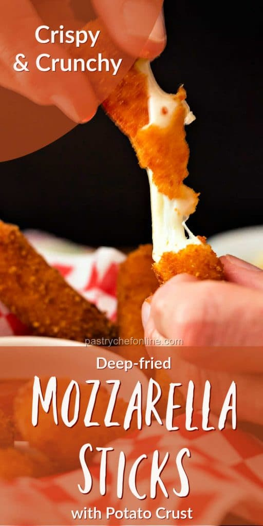 """pin showing cheese pull text reads """"crispy and crunchy deep-fried mozzarella sticks"""""""