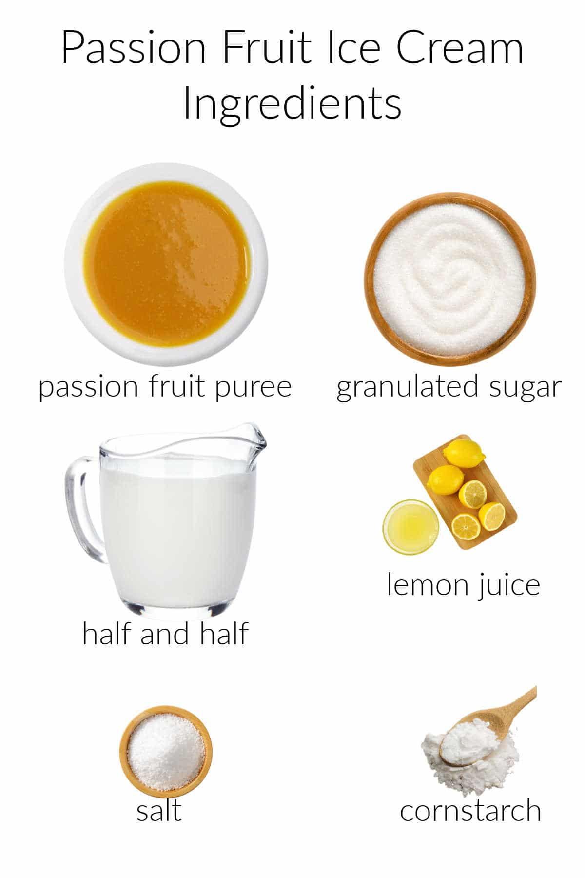 collage of ingredients for making passion fruit ice cream