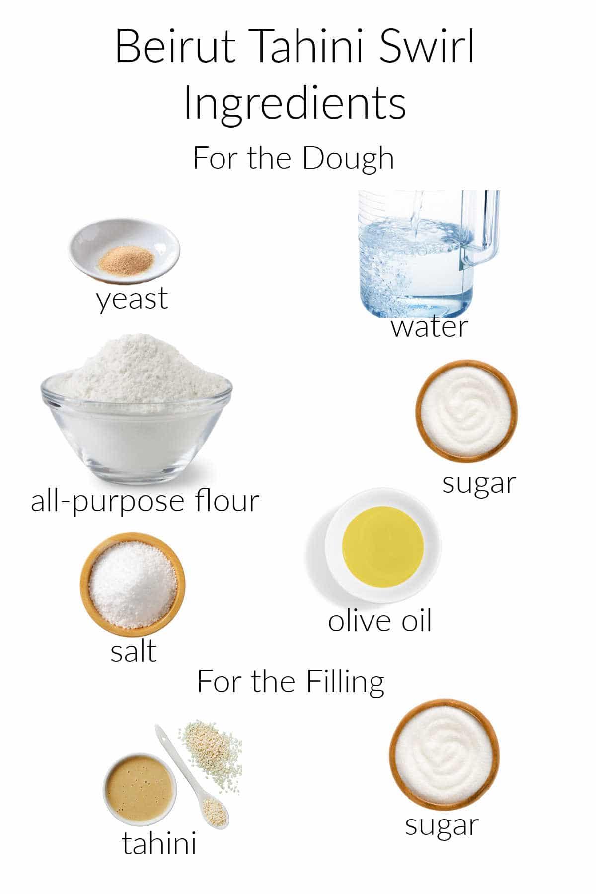 collage of ingredients for sukkar bi tahin