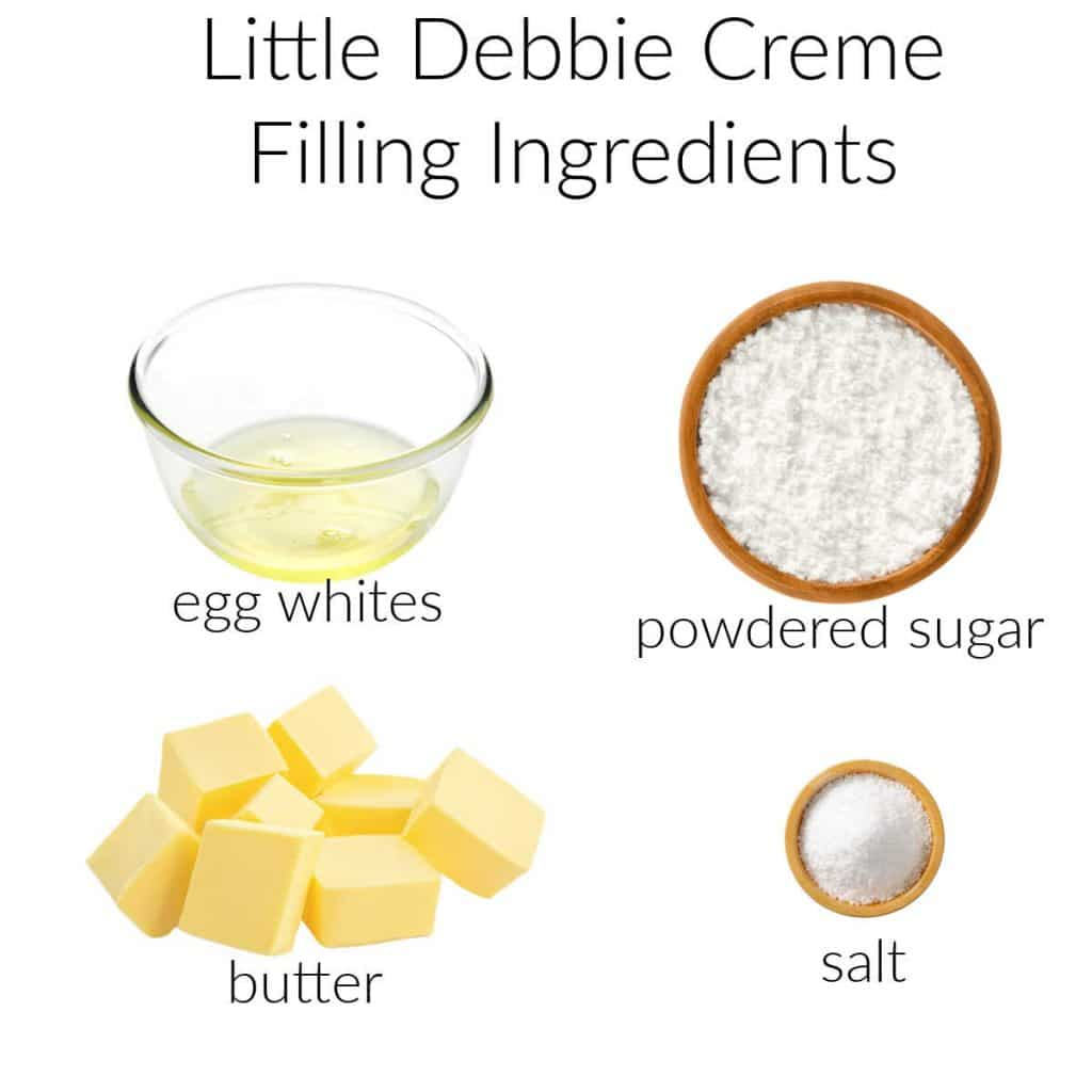 Ingredient collage for making creme filling for oatmeal creme pies.